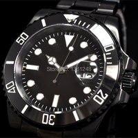 40mm parnis PVD bisel de cerámica luminoso cristal de zafiro movimiento automático hombres reloj 067