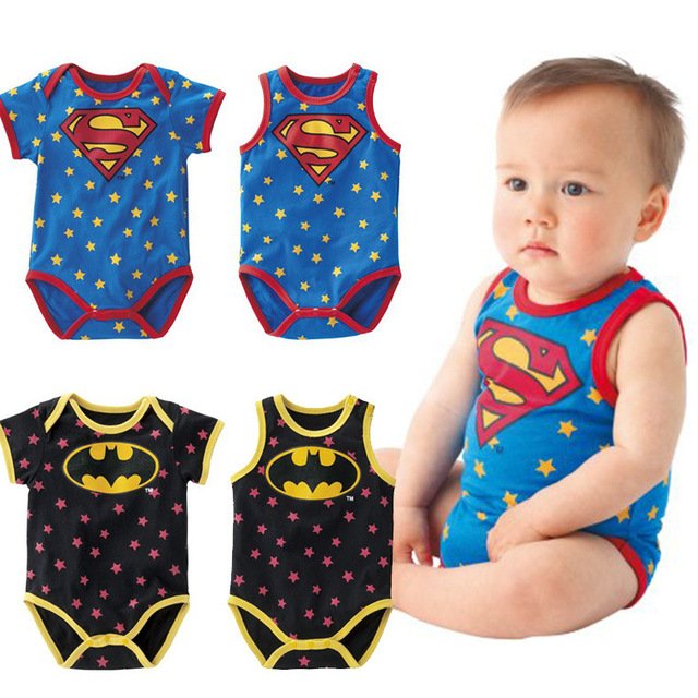 961d24513 Baby Rompers Baby One-Piece Romper Baby Summer Clothing Stars Superman  Batman 1-2