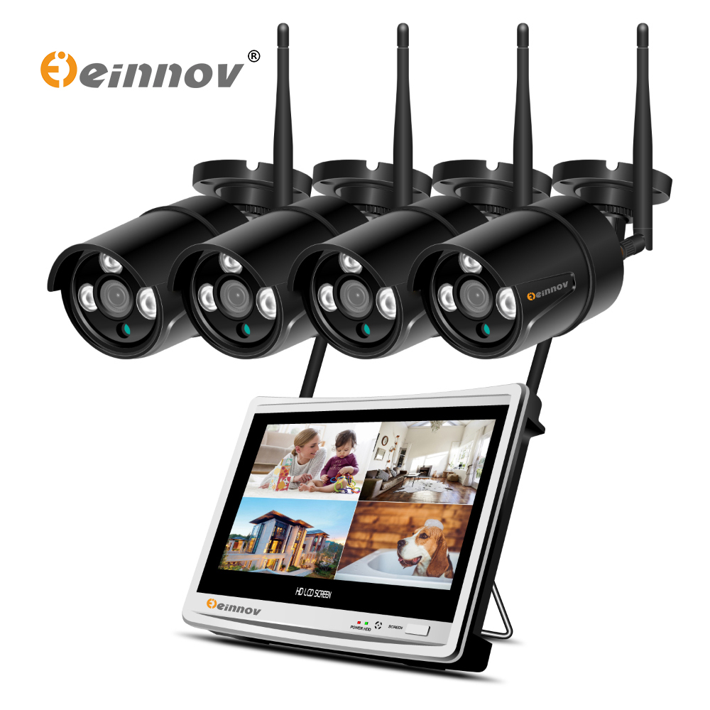 Einnov 4CH 2MP 1080P HD 12Inch LCD CCTV NVR Kit Wifi Outdoor Video Surveillance IP Camera Home Wireless Security Camera System