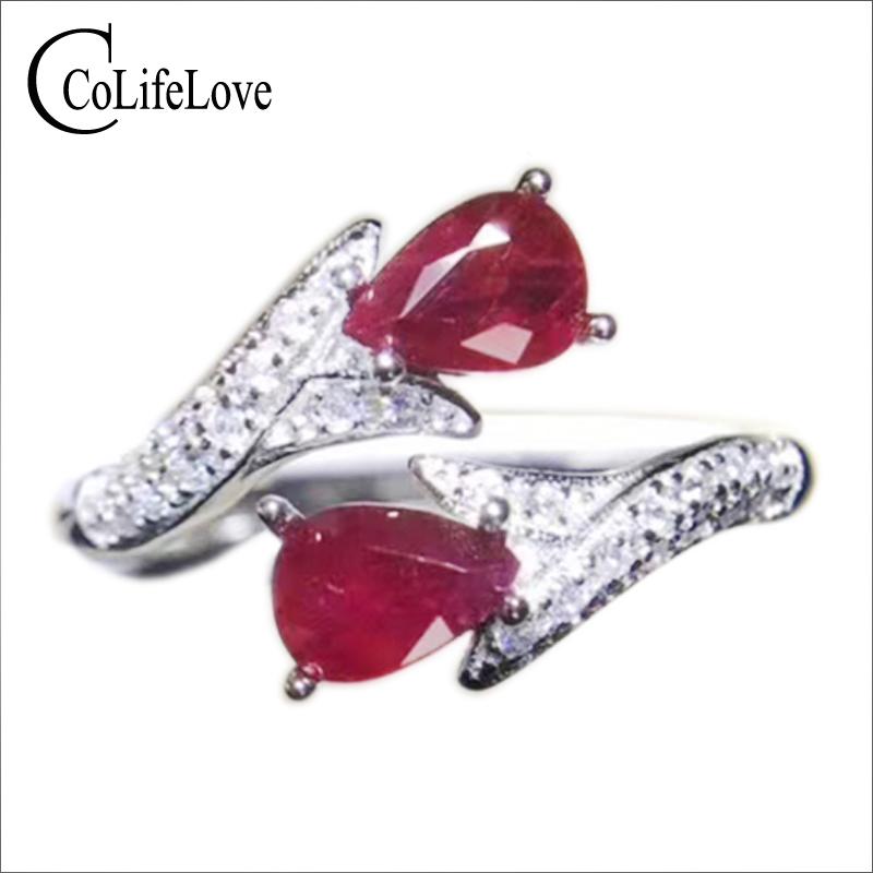 купить Size adjustable ruby ring for party 4 mm * 6 mm natural pear cut blood red ruby ring solid 925 sterling silver ruby jewelry по цене 5846.17 рублей