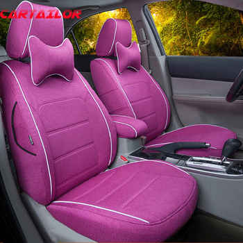 CARTAILOR Custom Fit Car Seats For Volvo V60 Seat Covers & Supports Linen Cloth Auto Seat Cover Protector Black Car Cushions