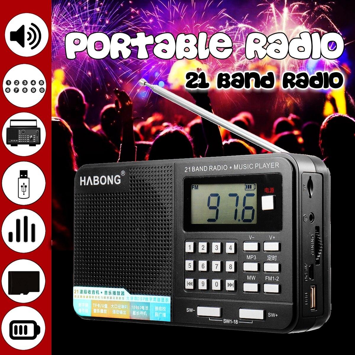 Tragbare Taschen Radio Persönliche Handheld-Full-Band AM FM SW Digital MP3 TF U Karte Wiederaufladbare USB