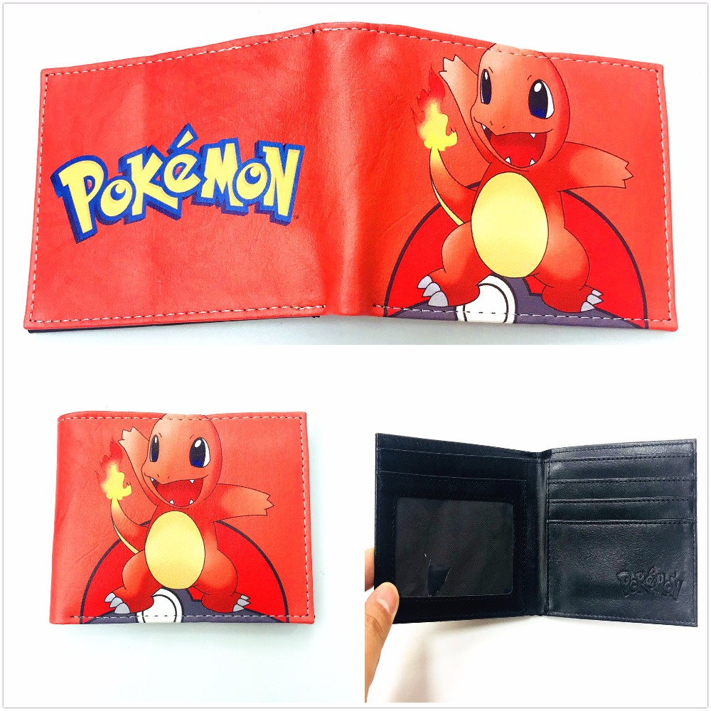 New Japanese Anime Pokemon Wallet For Teenager Boy Girl Leather PU Cartoon Purse Short Bifold Wallet Money Bag XY0010 2016 new arriving pu leather short wallet the price is right and grand theft auto new fashion anime cartoon purse cool billfold