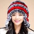 Новая Мода Зима Кролик Волос Толщиной защитный Колпачок Шляпу Уха Полоса Цвет Для Дамы и Женщины LB