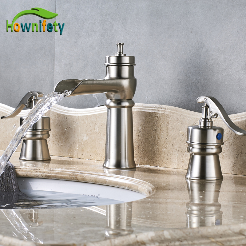 Contemporary Dual Handles Basin Sink Faucet Three Hole Bathroom Mixer Faucet Brushed Nickle Finish vanity sink basin faucet 9 6 hole plate bathroom tap brushed nickle mixer faucet