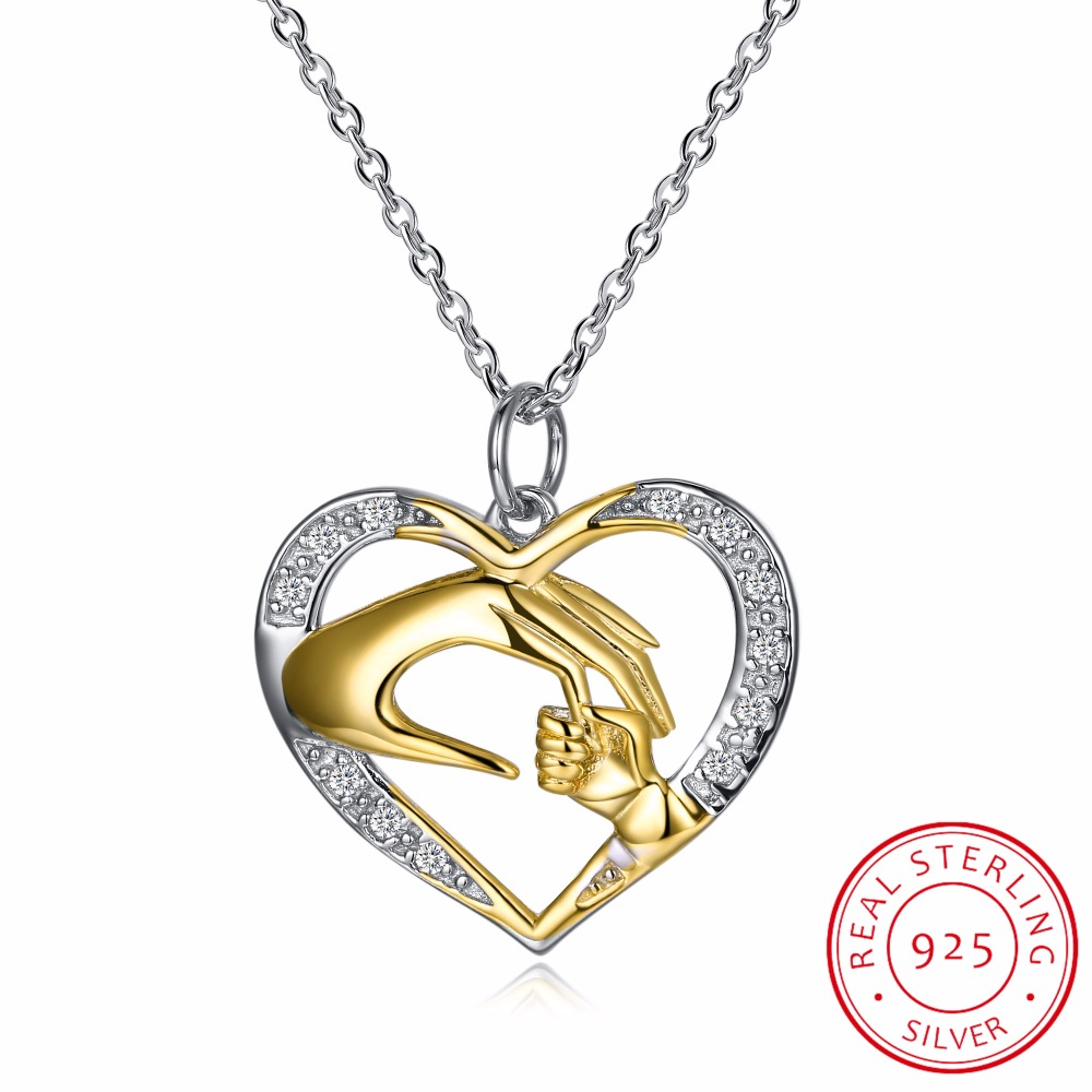925 Sterling Silver Mother Love Baby Child Rhinestone Big Hand Hold Little Hand Heart Necklace Mom Birthday Gift Fine Jewelry925 Sterling Silver Mother Love Baby Child Rhinestone Big Hand Hold Little Hand Heart Necklace Mom Birthday Gift Fine Jewelry