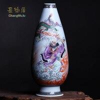 Changwuju в Цзиндэчжэнь украшения дома Famille Роуз Ваза написаны jinhongxia как домашний интерьер статью и винтаж искусство