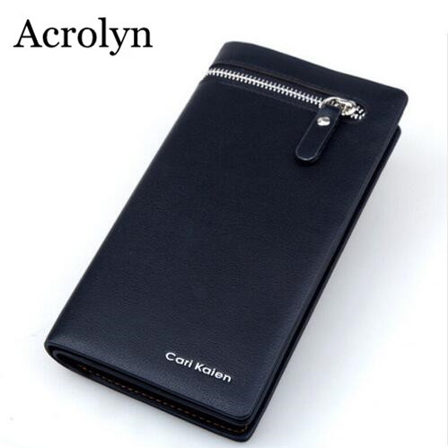 Men Leather Wallet Zipper Day Clutch Bag Free Shipping