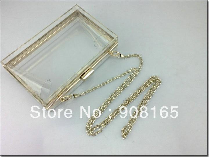 free shipping 14 colors new hot sale brand designer clear acryl bag 2013 fashion Transparent handbags women chain clutch bag