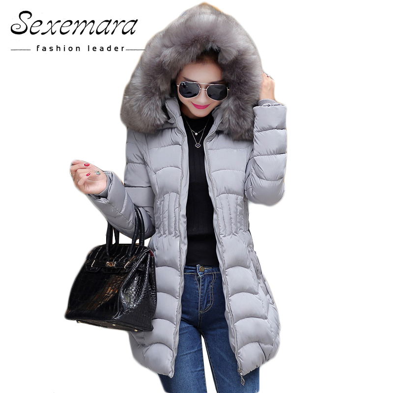 Sale 4XL Fur Hooded Female Winter Down Jacket Cotton Slim Overcoat Elegant Casual Long Sleeve Women Coat   Parka   Big Plus Size