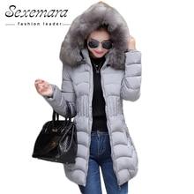 Sale 4XL Fur Hooded Female Winter Down Jacket Cotton Slim Overcoat Elegant Casual Long Sleeve Women Coat Park 2016 Big Plus Size