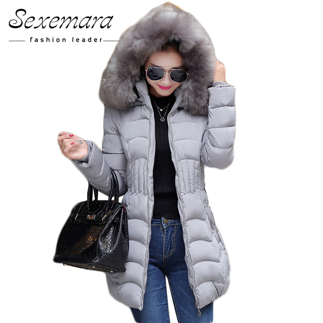 Sale 4XL Fur Hooded Female Winter Down Jacket Cotton Slim Overcoat Elegant Casual Long Sleeve Women Coat Park 2016 Big Plus Size