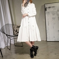[TWOTWINSTYLE] 2017 Spring Solid Long Sleeve Bow Pleated Single Breasted Loose Ladies Party Dresses Womne New Fashion Streetwear