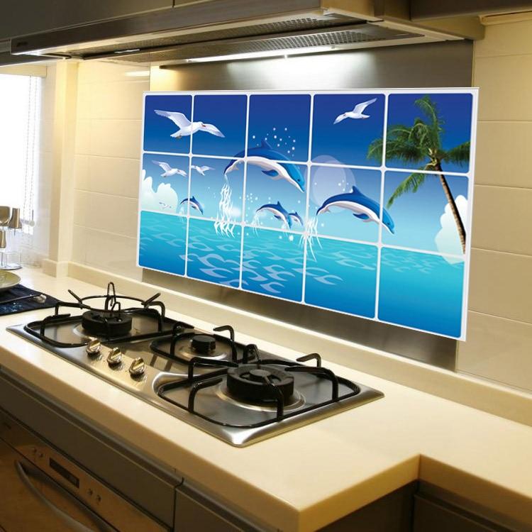 Ocean Kitchen Decor: LOVE COSY Blue Ocean Dolphin Pattern Kitchen Oilproof Wall