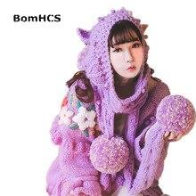BomHCS Милая большая шапка с шарфом, зимняя женская красивая Шапка-бини, шарф, ручная работа, вязаная(без перчаток