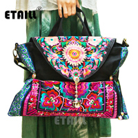 Chinese Ethnic Style Embroidery Bags Handmade Cloth Flower Embroidered Canvas Beads Shoulder Bag Handbag Sac Femme Bordado Bolsa