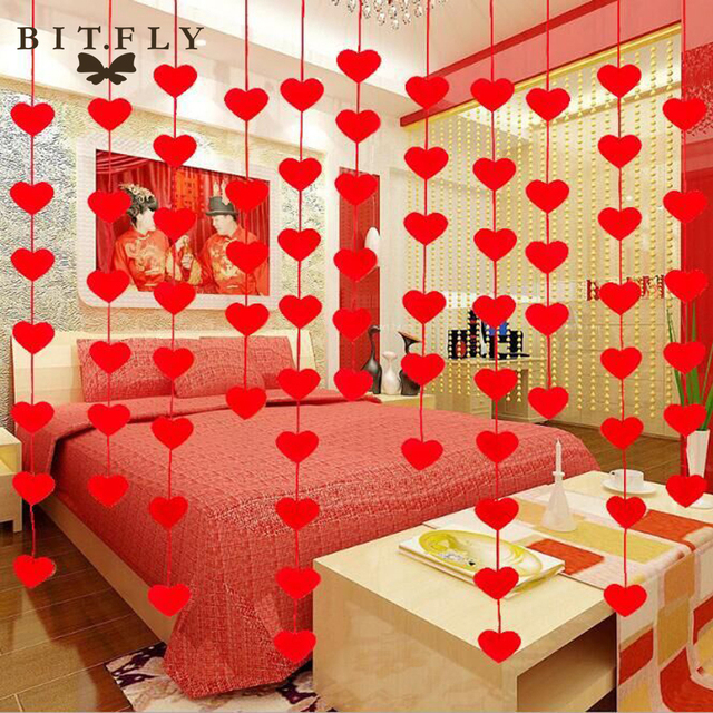 romantic love heart curtain garland flags banner wedding valentines day home decoration birthday party supplies red