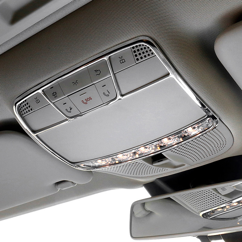 ABS Chromed 1 PCS Interior Front Roof Dome Courtesy Lamp Trim For For Benz C-Class W205 GLC X205 15-18/ E Class W213 16-18
