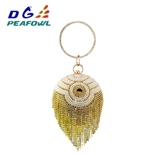 Golden Diamond Tassel Women's Crystal Beaded Pearl Round Ball Shoulder Bags Bridal Wedding Clutches Wristlets Handbags