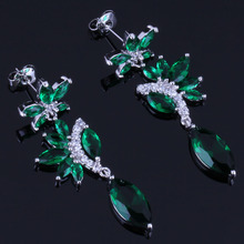 Cheerful Long Marquise Green Cubic Zirconia White CZ 925 Sterling Silver Drop Dangle Earrings For Women V0786