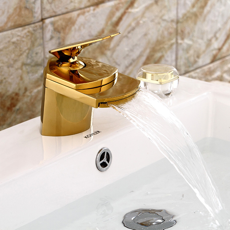 Full Copper Black Hot & Cold Antique Faucet Golden Waterfall Bathroom Vanity Taps Single Handle Hole Mixer Tap YM134 copper bathroom shelf basket soap dish copper storage holder silver