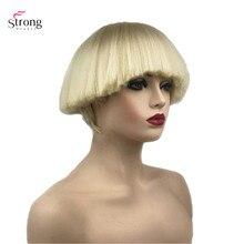 StrongBeauty damska peruka syntetyczna krótkie włosy Shroom fryzura czerwona miska fryzura blond/białe peruki Bob