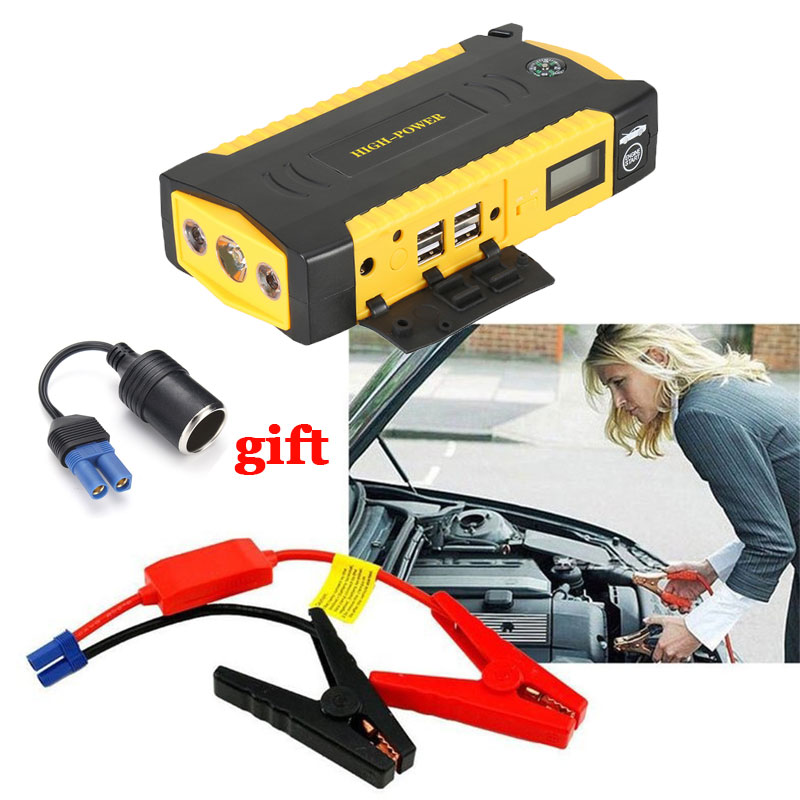 Car Jump Starter 12V 600A Peak 16000mAh Emergency Battery Multi-Function Portable Power Bank Starting Device Car Charger Booster