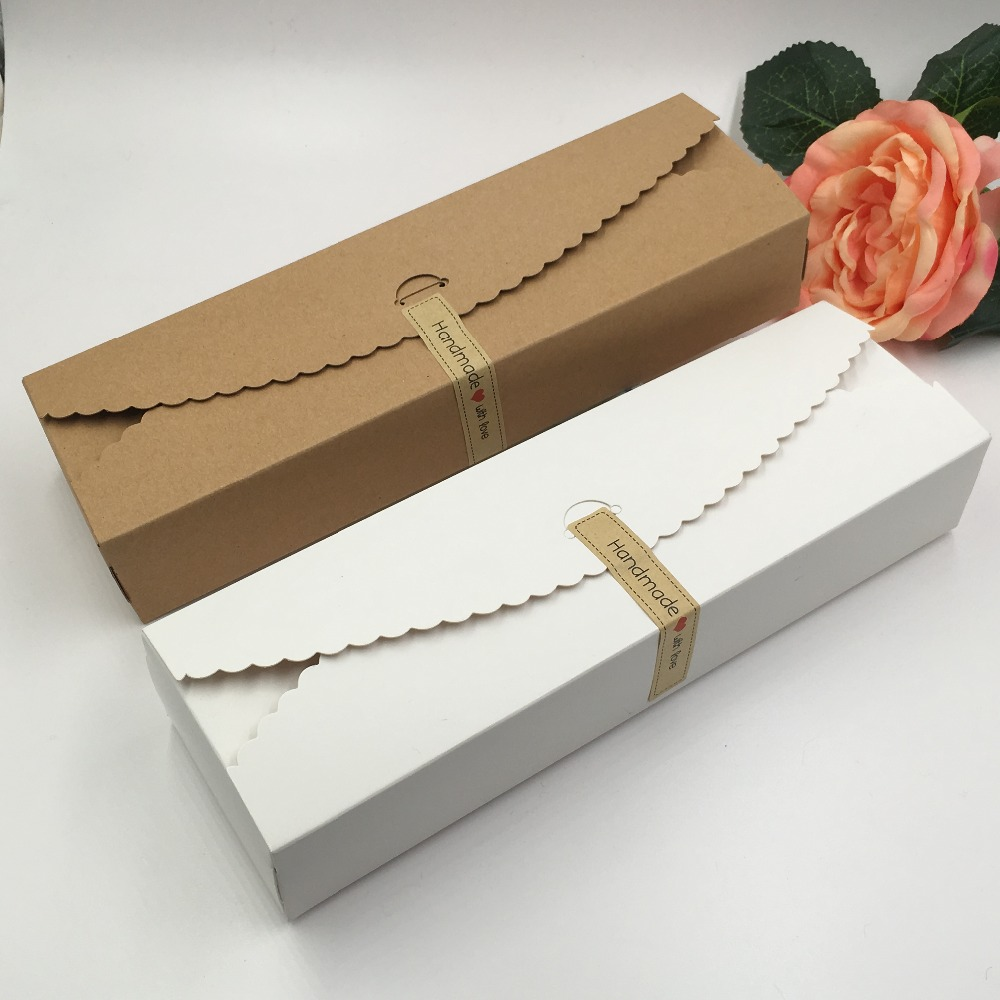 50pcs/lot White and brown Paper Box for Christmas Party Favor ...