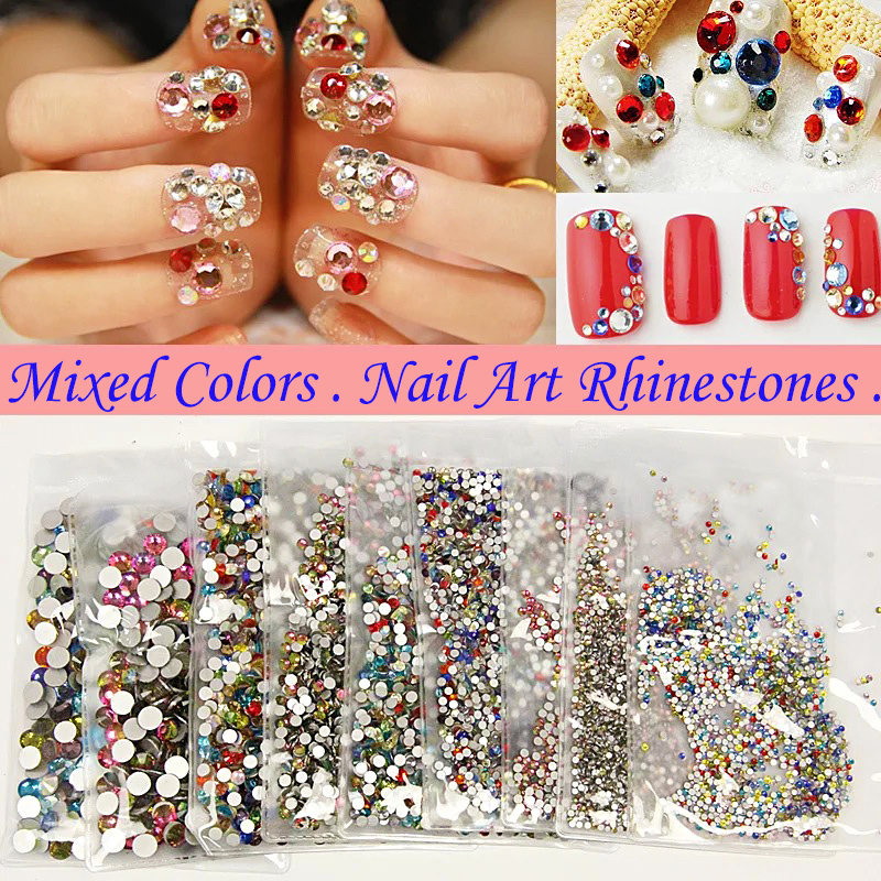 High Quality Glass Stones 3ss To 30ss Mixen Color Flatback Nail