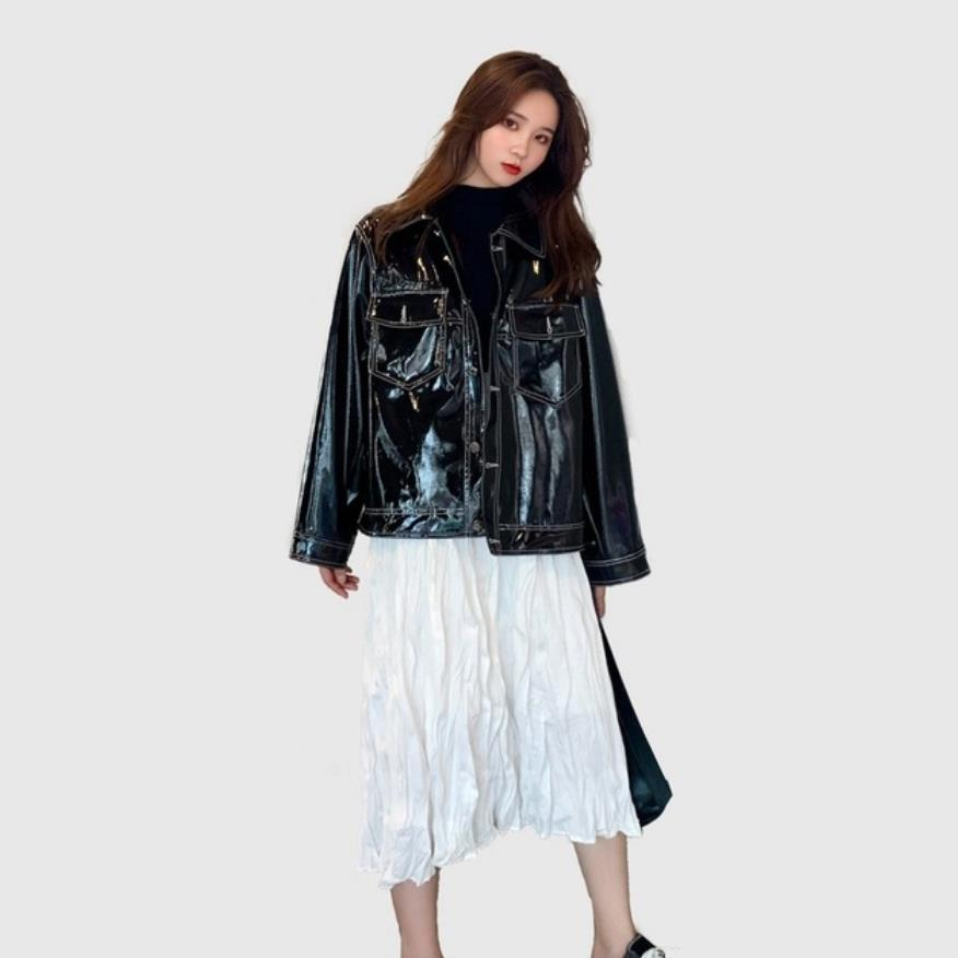 Fashion brand Glossy patent   leather   jackets female street style cartoon pattern printed shiny pu   leather   jacket wq1149 dropship