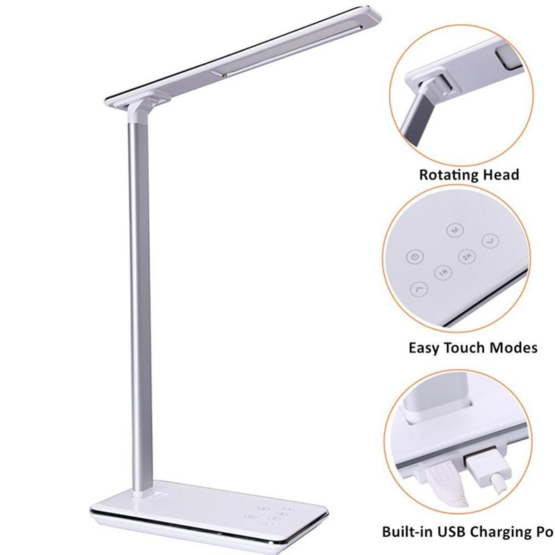 LED Desk Lamp Dimmable Folding Bedside Table Light With Qi Wireless Charger Touch Control 4 Color Temperature men fashion business handbag dual use handbag shoulder bag tote flap bag chest bag