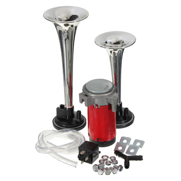 12 v Compresor de Doble TONO Loud Dual Air Horn Trompeta Chrome Set Barco Del Carro Del Coche Van 135DB