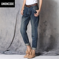 Women Fashion Loose Mid Waist Boyfriend Harem Washed Denim Cotton Pants Pantalones Mujer Jeans Vaquero Mujer