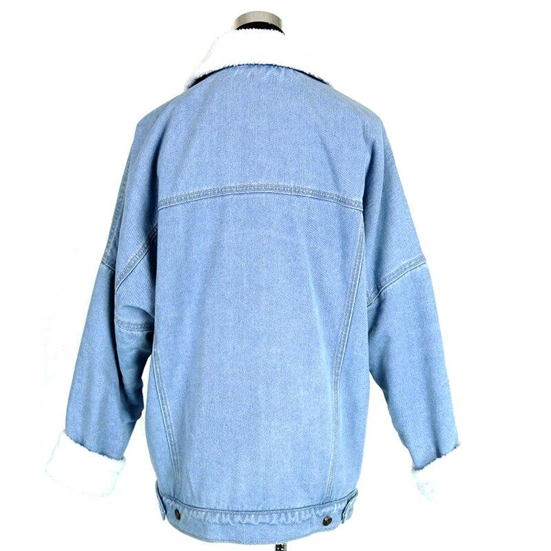 Jeans Vêtements Hiver Casacos Femmes Bleu Veste Femme Lâche En Nouveaux 2018 Chaud Vintage Manteaux D'agneau Vestes Ciel Denim Doublure Feminino Pu Laine HWFTtq8Xw