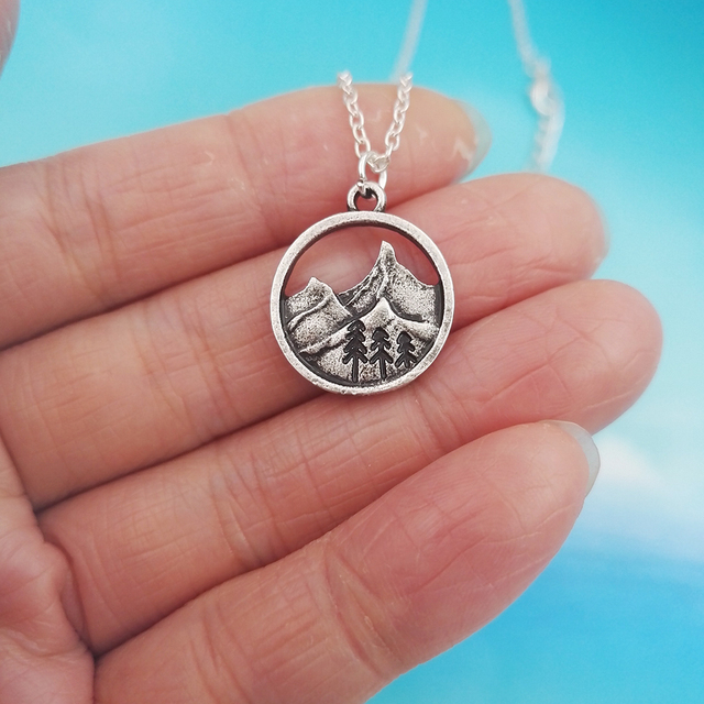 SanLan good quality camping jewelry Outdoor Jewelry Gifts Lovely round pendant Pine Tree necklace under the mountain 3