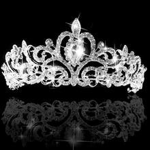 Горячие Свадебные Принцесса Пром Австрийский Кристалл Повязка Tiara Корона Veil Волос Ювелирные Изделия 5U7F 6SQ4 7EVH