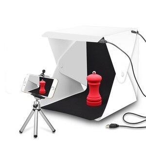 Image 1 - صندوق إضاءة صغير محمول قابل للطي استوديو التصوير الفوتوغرافي صندوق لين LED صور صندوق لينة آيفون DSLR كاميرا صور خلفية