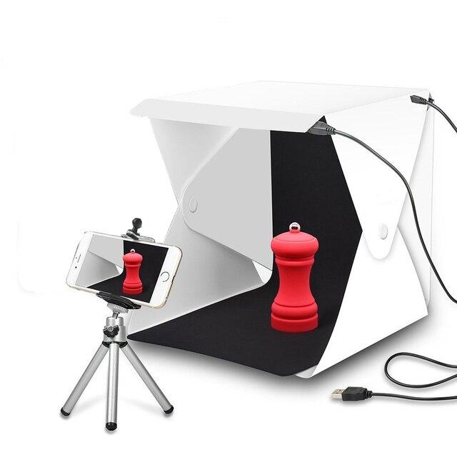 صندوق إضاءة صغير محمول قابل للطي استوديو التصوير الفوتوغرافي صندوق لين LED صور صندوق لينة آيفون DSLR كاميرا صور خلفية