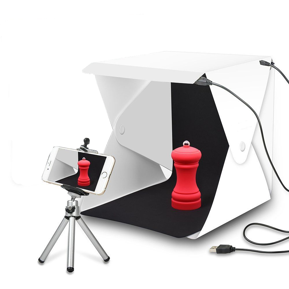 цена на Mini Portable Folding Lightbox Photography Studio Soft box LED Light photo Soft Box for iphone DSLR Camera Photo Background