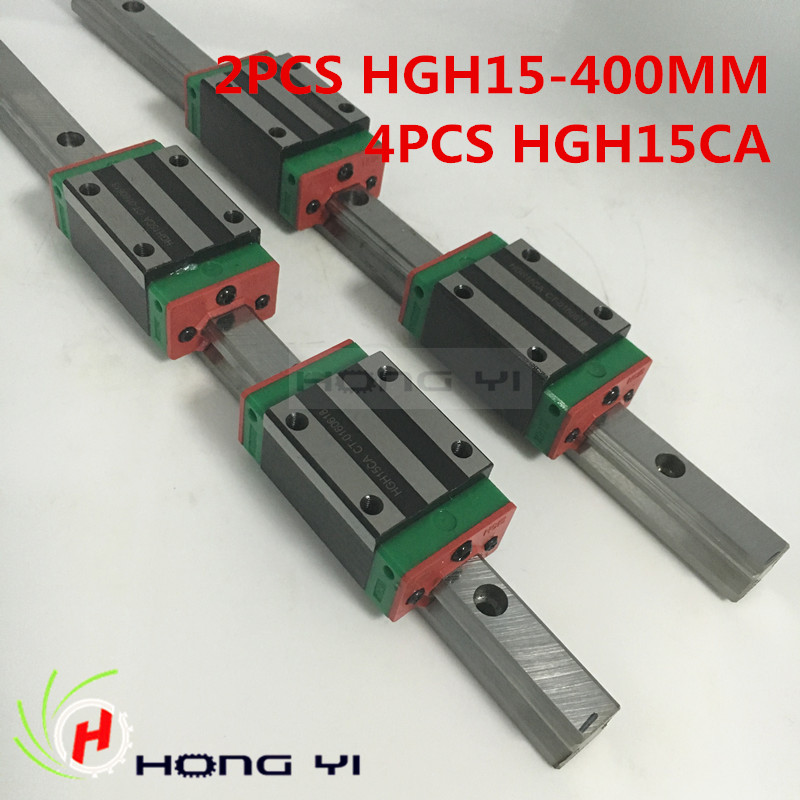 Linear rails HGR15, 2pcs HIWIN Carril Linear Rail 400mm + 4pcs Rail Linear Block HGH15CA for CNC 2pcs hiwin hgh25ca linear guide slider block linear rails carrier