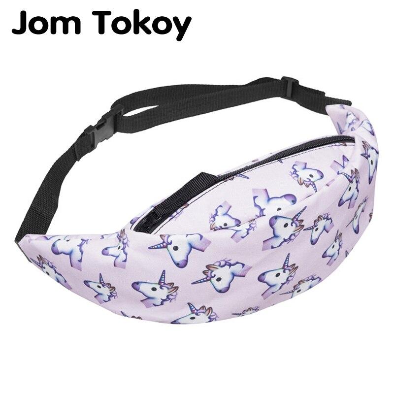 Jom Tokoy New 3D Colorful Waist Pack for Men Fanny Pack Style Bum Bag unicorn Women Money Belt Travelling Mobile Phone Bag