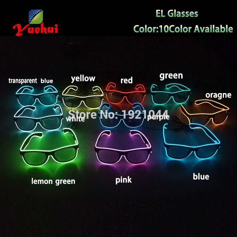 NUEVO 10 Colores Opción EL Alambre Resplandor Gafas de sol Neon Led - Para fiestas y celebraciones - foto 5