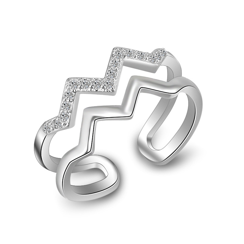 Hot sell fashion water wave shiny crystal female ring 925 sterling silver ladies`finger rings jewelry gift wholesale women