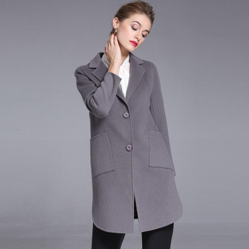 Femmes D'hiver Laine Silver 2018 20173011 Pardessus Automne Gray Col Grande Costume Cachemire Et black Double face Mince De Pour Taille Manteau t1wqg