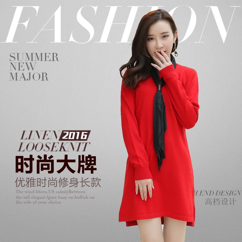 Womens Sweater Longer design Pullovers dress Spring Cashmere Wool Blend Knitting Skirts Lady Fashion Half-turtleneck Clothes