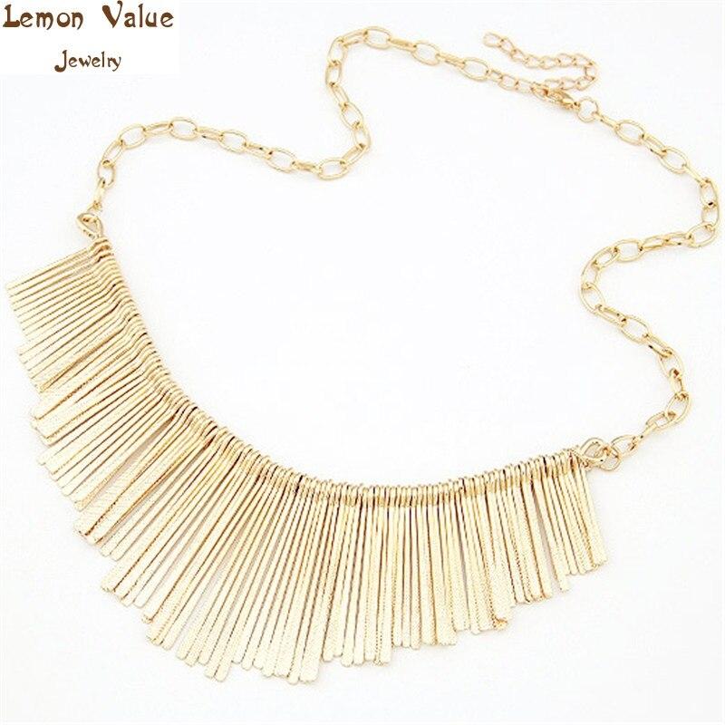 2a9a27a30bbc Lemon valor gótico oro color declaración choker vintage Amuletos Steampunk  borlas collar mujeres Collier joyería A077