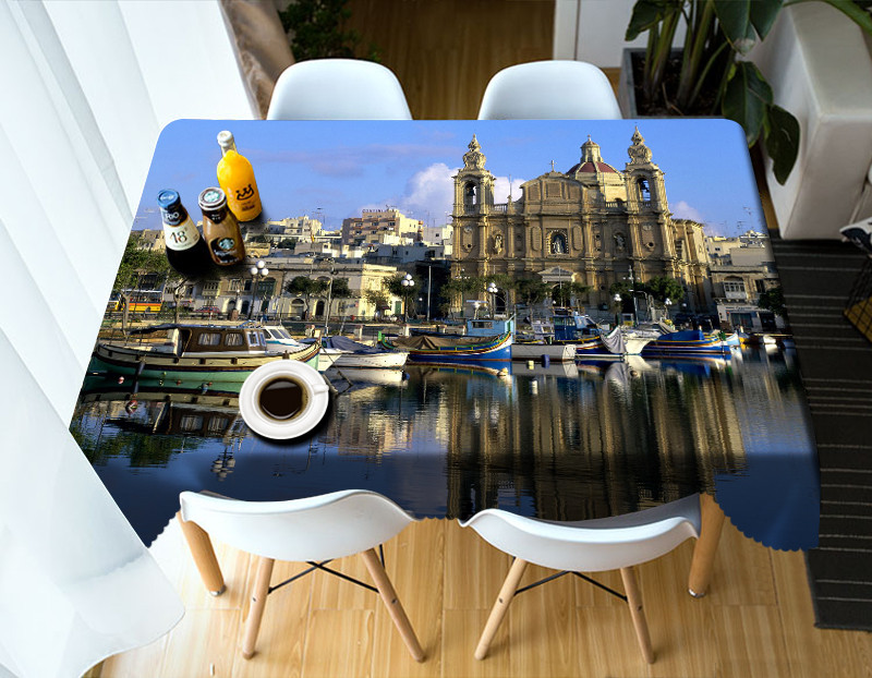 Modern 3D Table Cloth Country Style city Print Multifunctional Rectangle Table Cover Tablecloth Home Kitchen Decoration