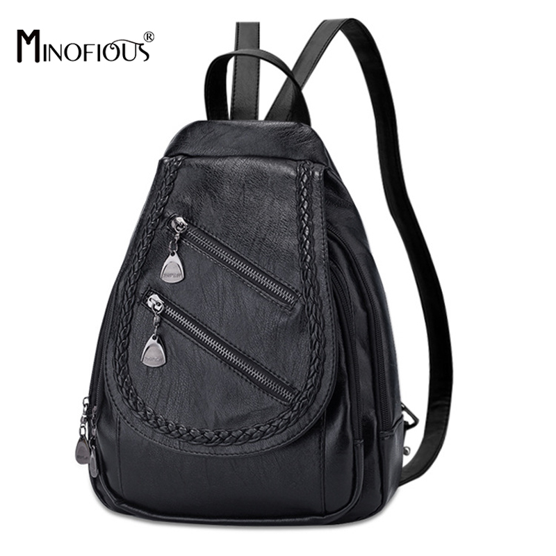 MINOFIOUS Brand Soft PU Leather Women Backpack Solid School Bag for Teenager Girls Womens Fashion Casual College BackpacksMINOFIOUS Brand Soft PU Leather Women Backpack Solid School Bag for Teenager Girls Womens Fashion Casual College Backpacks