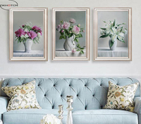 OKHOTCN Unframed 3 Pieces Set Traditional Chinese Realistic Paintings Home Decor Canvas Prints Pictures Modular Wall