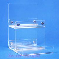 2 High Quality Clear View Acrylic Wallet Display Stand Card Holder 2 Tiers